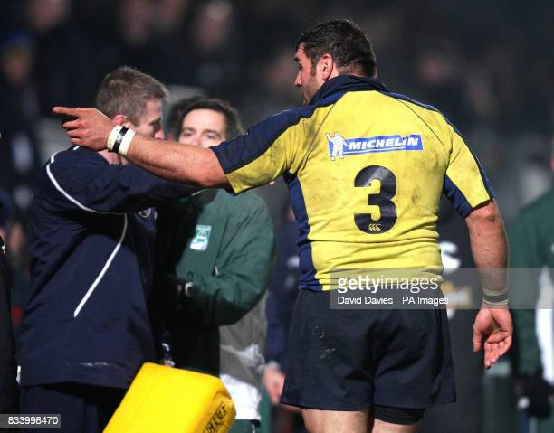 Clermont's Martin Scelzo points a finger towards the crowd after a scuffle between the players spills into the crowd during the Heineken Cup match at...