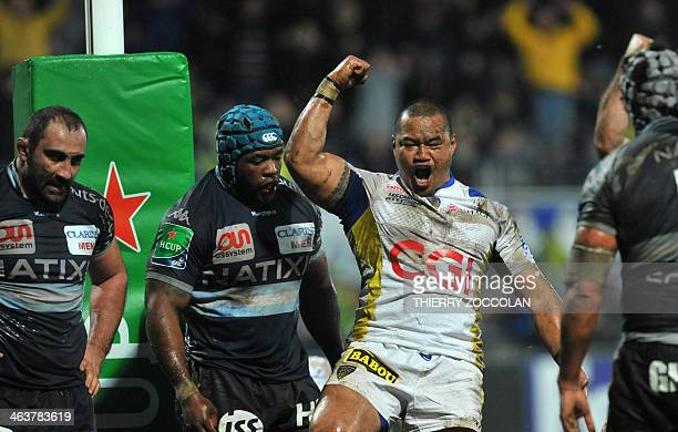 Clermont's New Zealand hooker Tii Paulo celebrates the 4th try of his team during the European Cup rugby union match ASM ClermontAuvergne vs Racing...