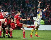 Clermont's New Zealand number 8 Fritz Lee tries to block a Munster clearance during the European Champions Cup rugby union match between Munster and...