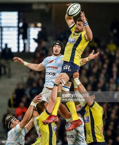 Clermont's player Damien Chouly grabs the ball in a line out during the French Top 14 rugby union match Racing 92 versus ClermontFerrand on March 25...