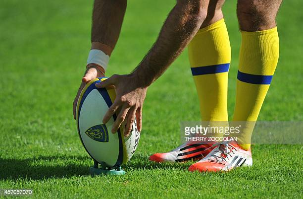 A Clermont's player prepares to kick the ball before the French Union Rugby match ASM Clermont vs La Rochelle at the Michelin stadium in...