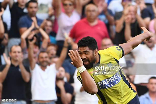 Clermont's Samoan back row Fritz Lee reacts after scoring a try during the French Top 14 rugby union semifinal match between Clermont and Racing 92...