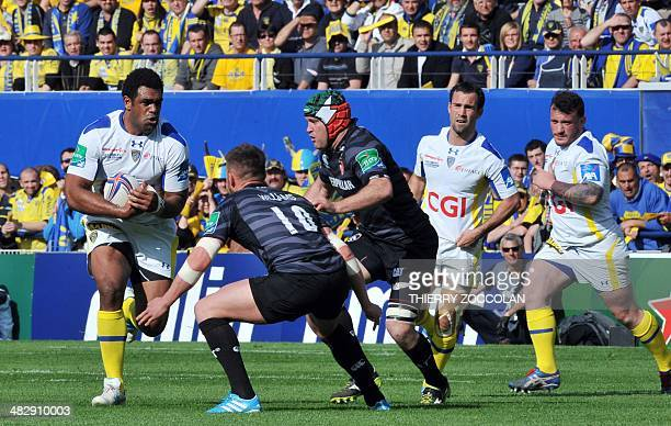 Clermont's winger Napolioni Nalaga of Fiji runs with the ball during the European Cup rugby union match ASM ClermontAuvergne vs Leicester Tigers at...