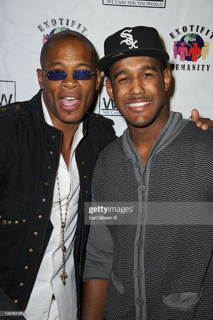 Cletus Lemarc and Landon Brown (Son of Bobby Brown) pose for a photo on the red carpet at Cafe Entourage on April 19, 2012 in Hollywood, California.