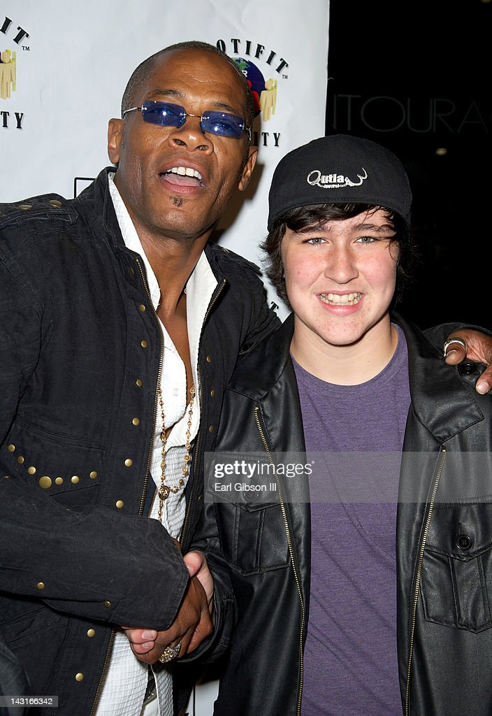 Cletus Lemarc and Noah Dahl pose for a photo at Cafe Entourage on April 19, 2012 in Hollywood, California.