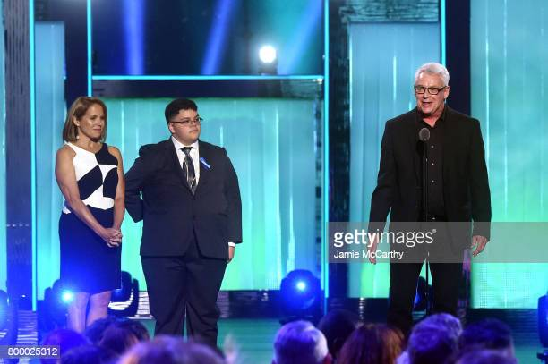 Cleve Jones speaks onstage with Katie Couric and Gavin Grimm at the Logo's 2017 Trailblazer Honors event at Cathedral of St John the Divine on June...