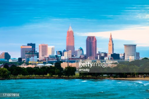 Cleveland and the Lake Erie Shore at Sunset