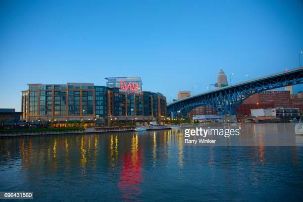 Cleveland bridge, apartment and river at dusk