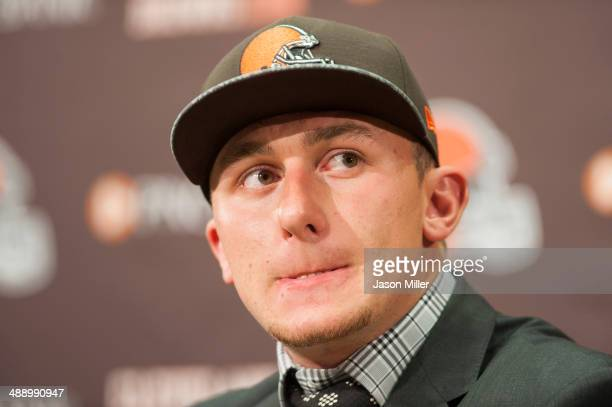 Cleveland Browns draft pick Johnny Manziel answers questions during a press conference at the Browns training facility on May 9 2014 in Cleveland...
