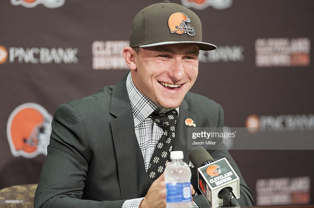 Cleveland Browns draft pick <a gi-track='captionPersonalityLinkClicked' href=/galleries/search?phrase=Johnny+Manziel&family=editorial&specificpeople=9703372 ng-click='$event.stopPropagation()'>Johnny Manziel</a> is answers questions during a press conference at the Browns training facility on May 9, 2014 in Cleveland, Ohio. Manziel was selected in the first round with the 22nd pick.