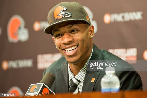 Cleveland Browns draft pick Justin Gilbert answers questions during a press conference at the Browns training facility on May 9 2014 in Cleveland...