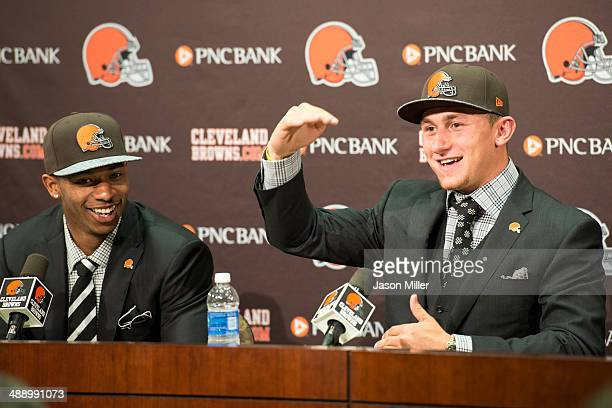 Cleveland Browns draft picks Justin Gilbert and Johnny Manziel answer questions during a press conference at the Browns training facility on May 9...