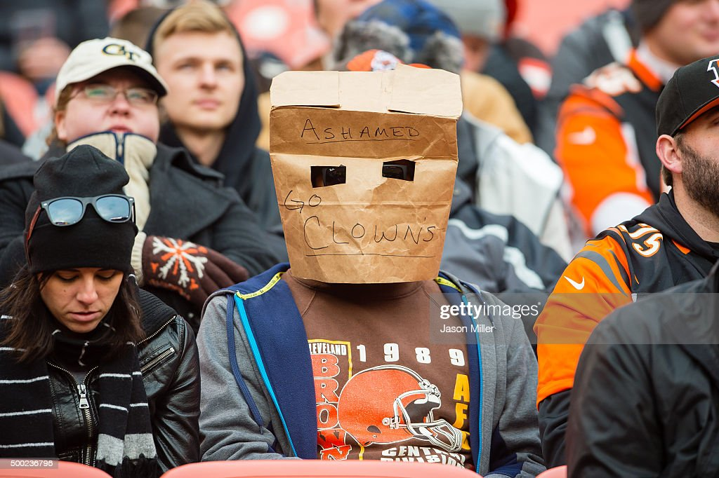 A Cleveland Browns fan expresses their disappointment with the team during the second half against the Cincinnati Bengals at FirstEnergy Stadium on December 6, 2015 in Cleveland, Ohio. The Bengals defeated the Browns 37-3.