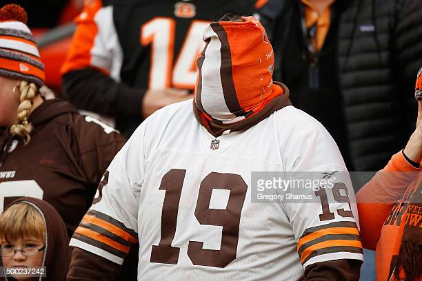 Cleveland Browns fan looks on during the fourth quarter while playing the Cincinnati Bengals at FirstEnergy Stadium on December 6 2015 in Cleveland...