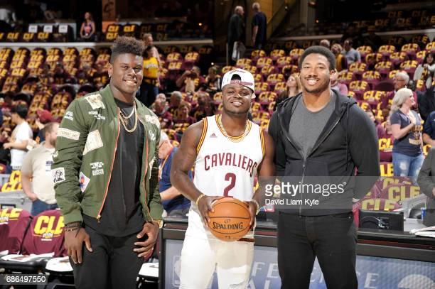 Cleveland Browns firstround draft picks Myles Garrett Jabrill Peppers and David Njoku pose for a photo before Game Three of the Eastern Conference...
