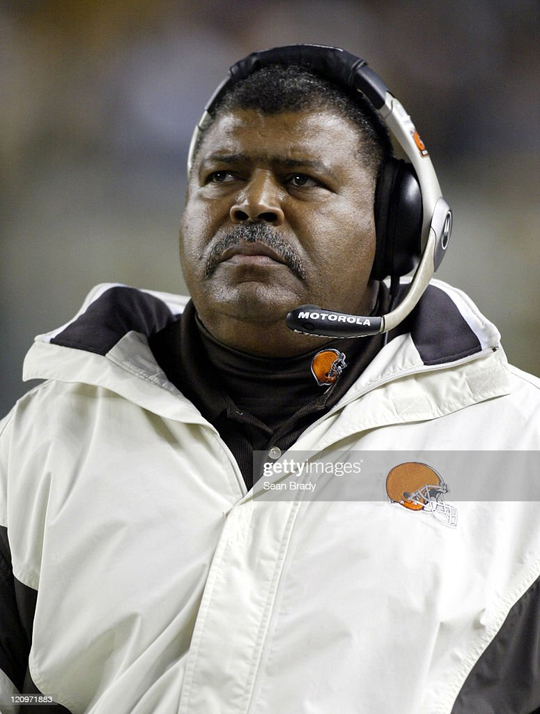 Cleveland Browns Head Coach <a gi-track='captionPersonalityLinkClicked' href=/galleries/search?phrase=Romeo+Crennel&family=editorial&specificpeople=564028 ng-click='$event.stopPropagation()'>Romeo Crennel</a> during action against the Pittsburgh Steelers at Heinz Field in Pittsburgh, Pennsylvania on November 13, 2005.