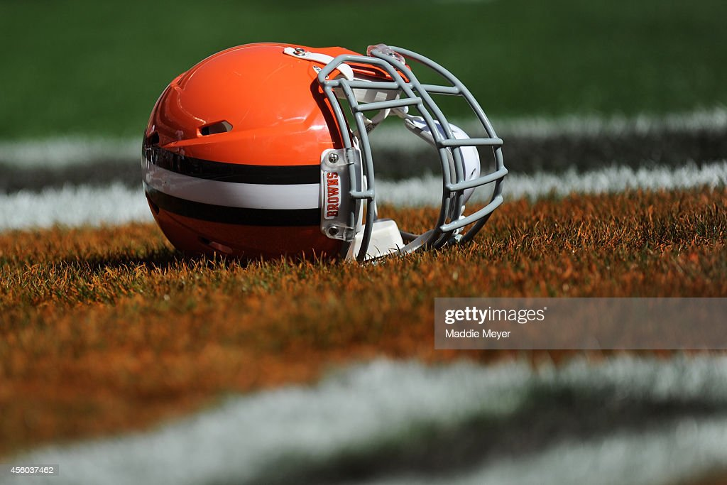 Cleveland Browns helmet lays in the end zone before the game against the Baltimore Ravens at FirstEnergy Stadium on September 21 2014 in Cleveland...