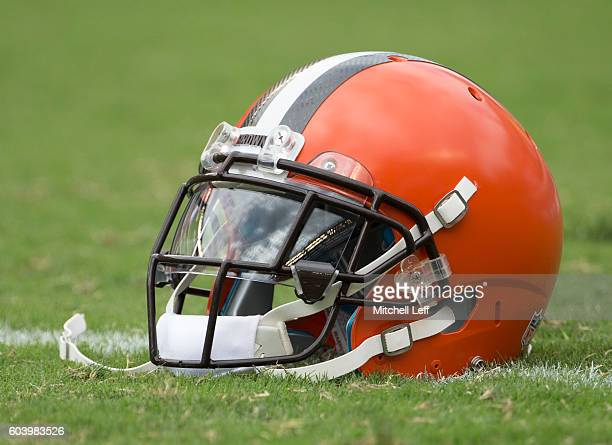Cleveland Browns helmet rests on the field prior to the game against the Philadelphia Eagles at Lincoln Financial Field on September 11 2016 in...