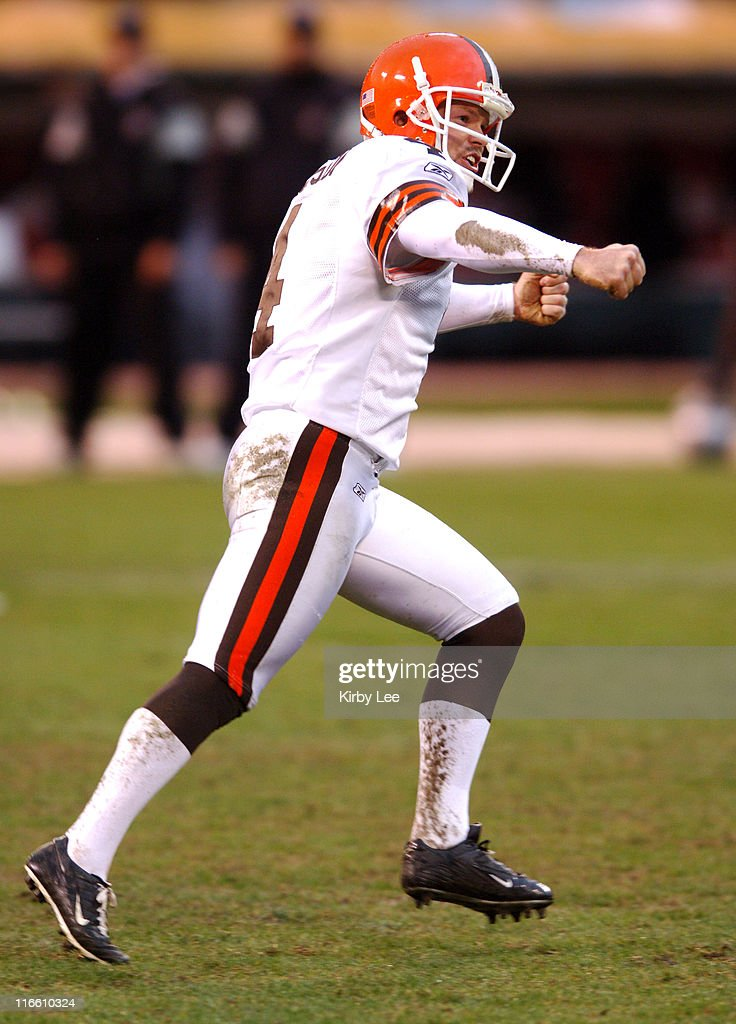 Cleveland Browns kicker Phil Dawson celebrates after kicking a game-winning 37-yard field goal with no time remaining in a 9-6 victory over the Oakland Raiders at McAfee Coliseum in Oakland, Calif. on Sunday, December 18, 2005.