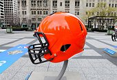 Cleveland Browns NFL football helmet is on display in Pioneer Court to commemorate the NFL Draft 2015 in Chicago on April 30 2015 in Chicago Illinois