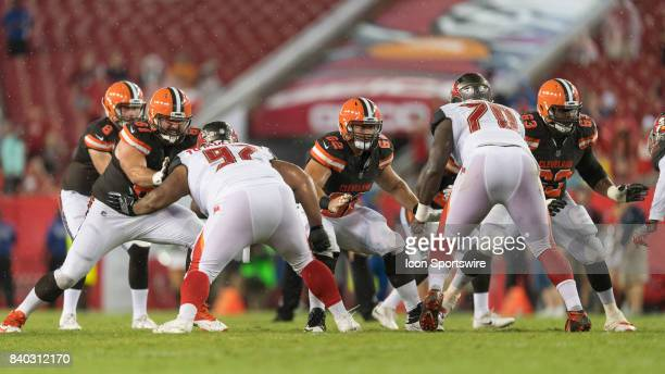 Cleveland Browns offensive lineman Anthony Fabiano Cleveland Browns offensive lineman Austin Reiter and Cleveland Browns offensive lineman Marcus...