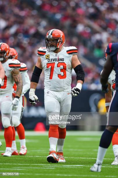 Cleveland Browns offensive tackle Joe Thomas walks up to the line of scrimmage during the football game between the Cleveland Browns and the Houston...