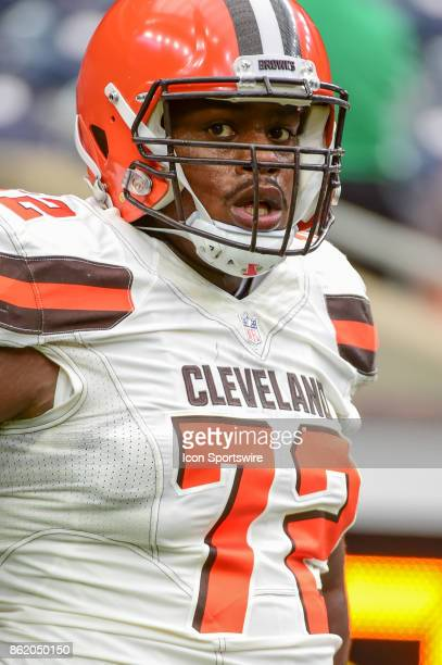 Cleveland Browns offensive tackle Shon Coleman warms up before the football game between the Cleveland Browns and the Houston Texans on October 15...