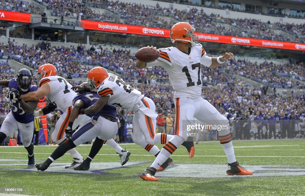 Cleveland Browns quarterback Jason Campbell looks to pass from his own end zone during the second half of their game with the Baltimore Ravens on Sunday, September 15, 2013, in Baltimore, Maryland.