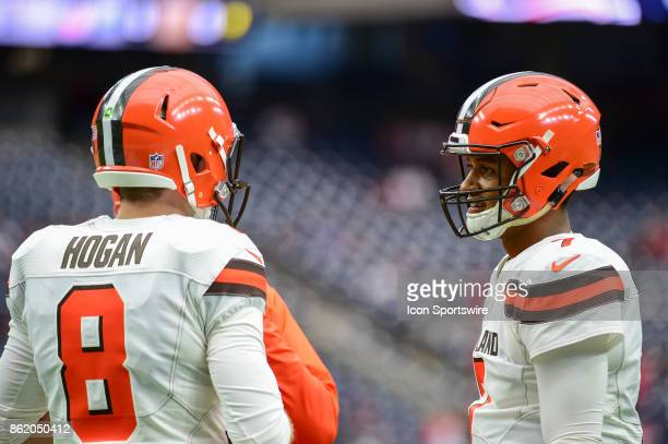 Cleveland Browns quarterback Kevin Hogan and Cleveland Browns quarterback DeShone Kizer talk before the football game between the Cleveland Browns...