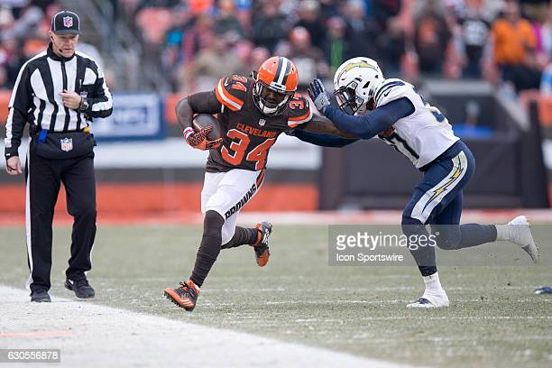 Cleveland Browns Running Back Isaiah Crowell is forced out of bounds by San Diego Chargers Linebacker Jatavis Brown during the second quarter of the...