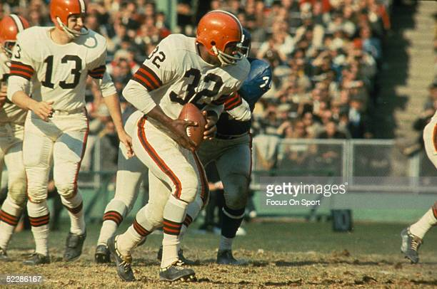 Cleveland Browns running back Jim Brown runs with the ball Jim Brown played for the Browns from 19571965