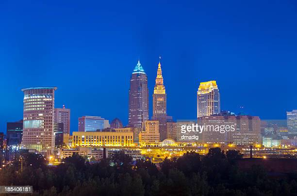Cleveland Buildings Lit after Nightfall