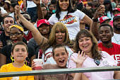 Cleveland Cavalier fans celebrate on August 8 at Infocision Stadium in Akron Ohio The LeBron James Family Foundation The City of Akron and The...