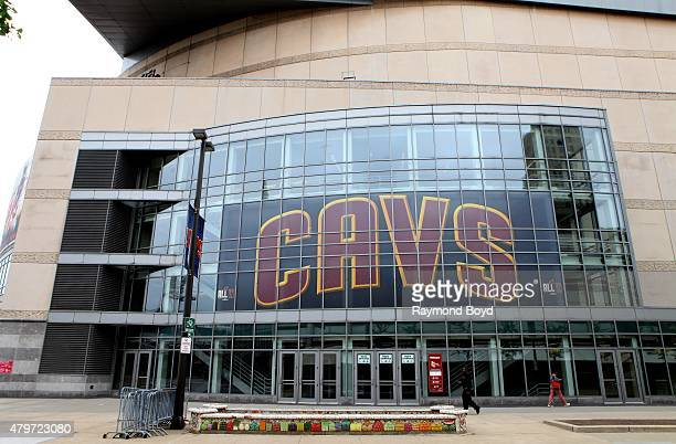 Cleveland Cavaliers banner hangs inside Quicken Loans Arena home of the Cleveland Cavaliers basketball team Cleveland Gladiators arena football team...
