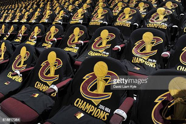 Cleveland Cavaliers championship shirts are presented on the chairs for fans before the game against the New York Knicks on October 25 2016 at...