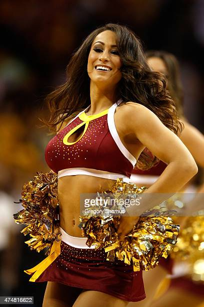 Cleveland Cavaliers cheerleader performs in the second half Atlanta Hawks during Game Four of the Eastern Conference Finals of the 2015 NBA Playoffs...