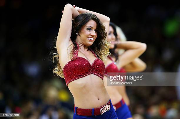 Cleveland Cavaliers cheerleaders perform during Game Four of the 2015 NBA Finals against the Golden State Warriors at Quicken Loans Arena on June 11...