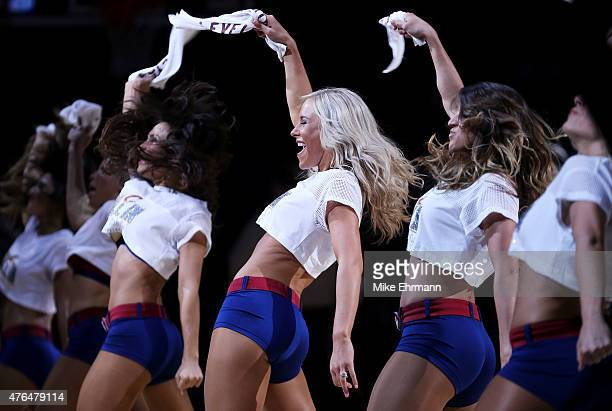 Cleveland Cavaliers cheerleaders perform in the second quarter against the Golden State Warriors during Game Three of the 2015 NBA Finals at Quicken...