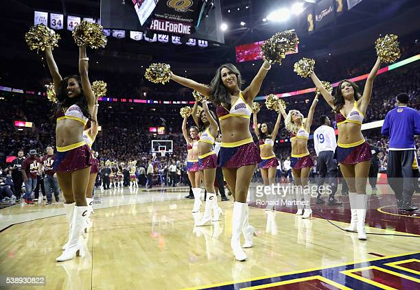 Cleveland Cavaliers cheerleaders perform prior to Game 3 of the 2016 NBA Finals between the Cleveland Cavaliers and the Golden State Warriors at...