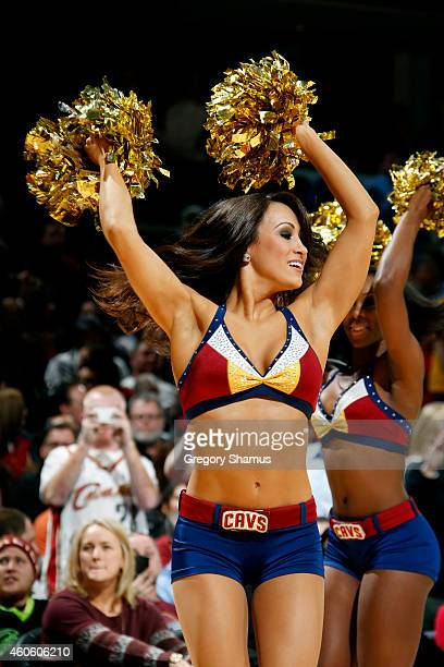 Cleveland Cavaliers dance team member performs during a game against the Atlanta Hawks at The Quicken Loans Arena on December 17 2014 in Cleveland...