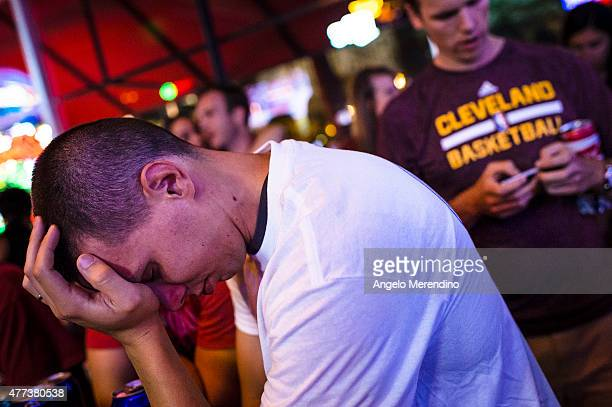 Cleveland Cavaliers fans react during Game 6 of the NBA Finals on June 16 2015 in Cleveland Ohio The Golden State Warriors defeated The Cleveland...