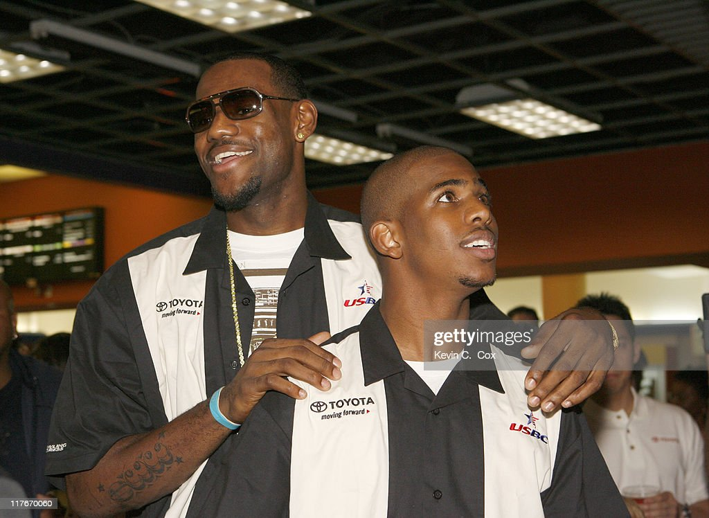 Cleveland Cavaliers forward Lebron James and New Orleans Hornets guard Chris Paul during the Chris Paul's WinstonSalem Weekend Celebrity Bowling...