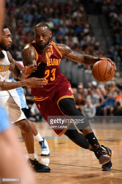 Cleveland Cavaliers forward LeBron James drives on Cleveland Cavaliers forward LeBron James during the fourth quarter on March 22 2017 in Denver...