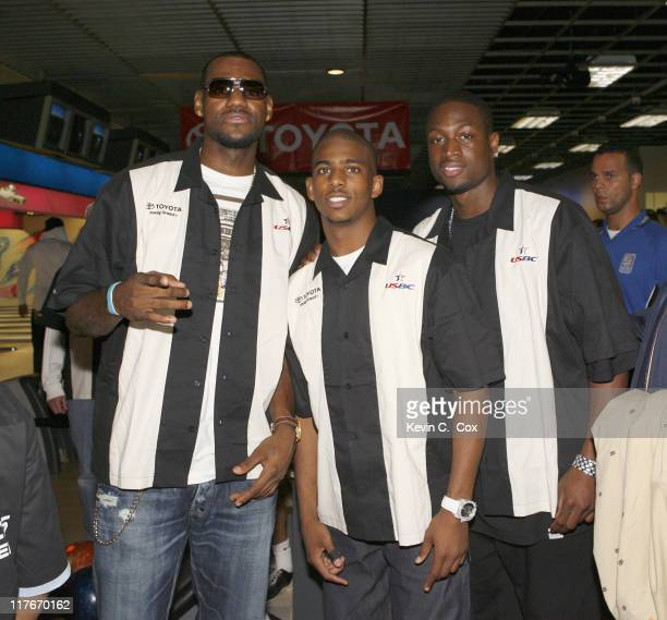 Cleveland Cavaliers forward Lebron James New Orleans Hornets guard Chris Paul and Miami Heat guard Dwyane Wade during the Chris Paul's WinstonSalem...