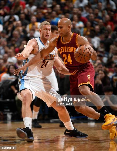 Cleveland Cavaliers forward Richard Jefferson drives around Denver Nuggets center Mason Plumlee during the second quarter on March 22 2017 in Denver...