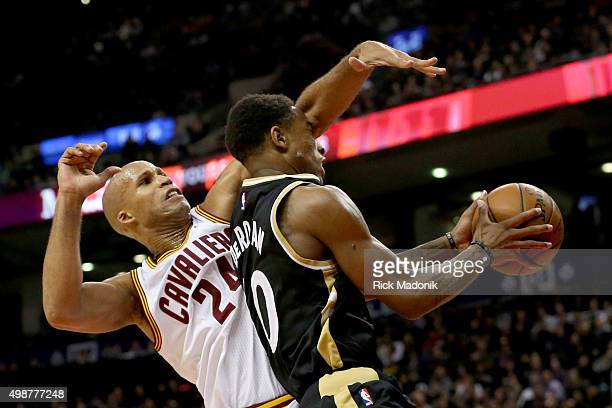 Cleveland Cavaliers forward Richard Jefferson tries to stop Toronto Raptors guard DeMar DeRozan as he drives to the hoop Toronto Raptors vs Cleveland...