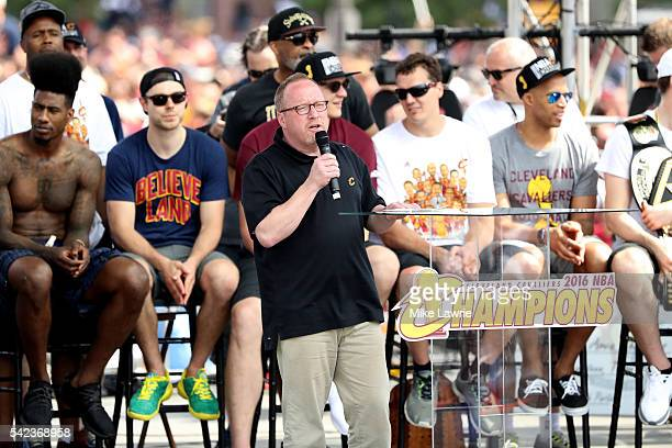 Cleveland Cavaliers general manager David Griffin speaks onstage during the Cleveland Cavaliers 2016 NBA Championship victory parade and rally on...