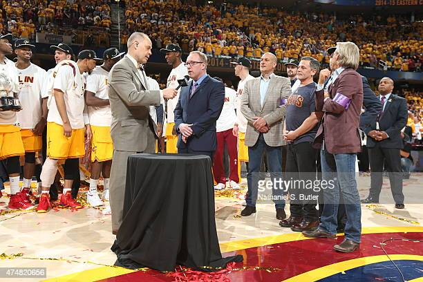 Cleveland Cavaliers General Manager David Griffin speaks to the fans after winning the Eastern Conference Final after Game Four of the Eastern...