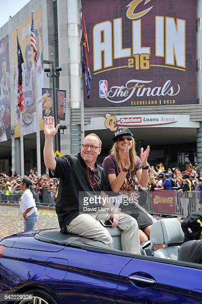 Cleveland Cavaliers General Manager David Griffin waves to the fans during the Cleveland Cavaliers Victory Parade And Rally on June 22 2016 in...