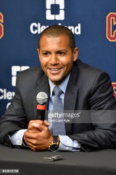 Cleveland Cavaliers General Manager Koby Altman speaks to the media during a press conference at The Cleveland Clinic Courts on September 7 2016 in...